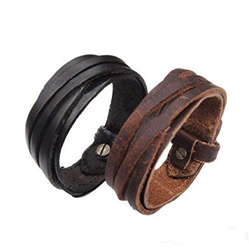 Armreif mit Kette, Men Women Unisex Multi Thong Braided Thin Leather Bracelet Wristband Jewelry Items 00JS Black Braided Thong