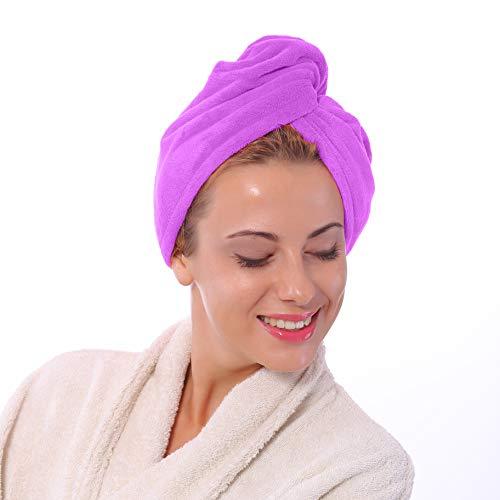 Haar-Handtuch, Anti-Frizz, super saugfähig, Turban-Handtuch für lange und kurze glatte und gelockte Haare, Lila Farbe von Bravo