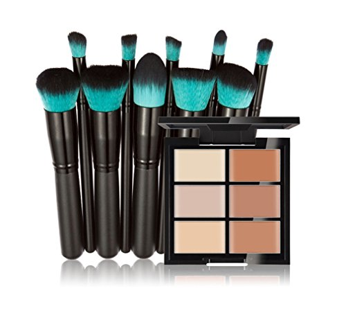 FantasyDay® 6 Farben Creme Concealer Make-up Palette Gesichtscreme Foundation Contouring Abdeckcreme Camouflage Palette Highlighting Cover Abdeck Makeup + 10 Stück Make-up Pinsel Set #2