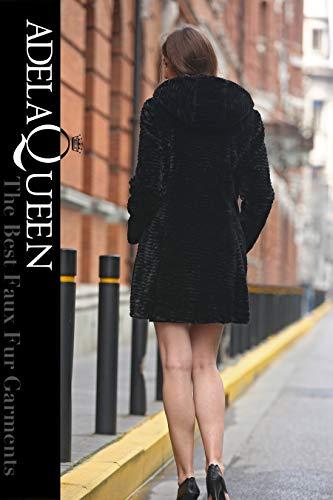 cheap for discount 214ad 9a77b Adelaqueen Giacca Pelliccia Sintetico Nera Fur Faux Fur Hood ...