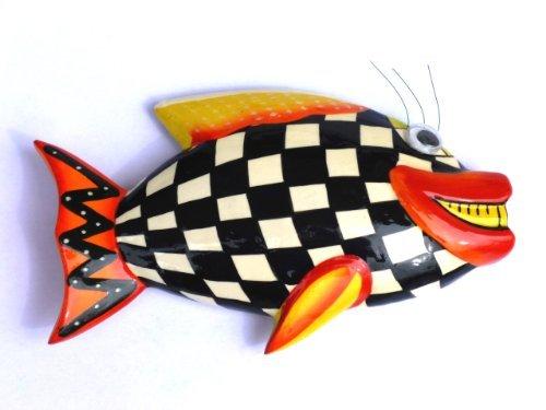 Meravigliosa idea regalo–legno pesce bianco a quadretti–calamita magnete decorativo, come regalo di natale o regalo di compleanno