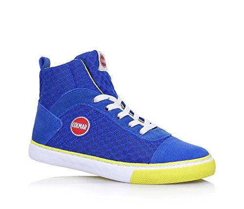 COLMAR - Sneaker à lacets bleue, en tissu et suède, avec fermeture éclair latérale, logo sur la languette, garçon, garçons