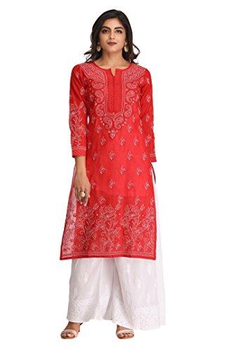Ada Women's Cotton Red Kurta (Small)