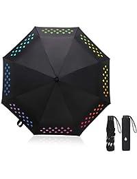 Vicloon Mágico Paraguas con 8 Ballenas, Lluvia y Sombrilla de Sol, Regalo Ideal para Hombre Mujer