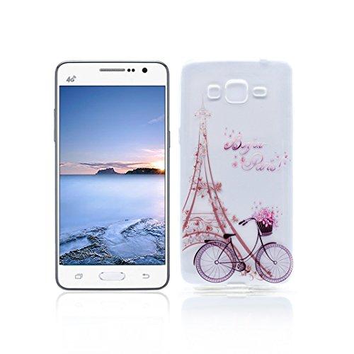Funda Samsung Galaxy Grand Prime G530 Carcasa Protectora OuDu Funda para Samsung Galaxy Grand Prime G530 Caso Silicona TPU Funda Suave Soft Silicone Case - Torre & Bicicleta