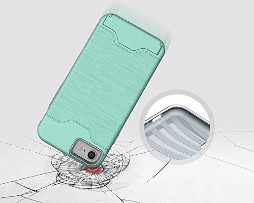 Cover iPhone 7, Riffue [VIVA] Flessibile TPU e Dura del PC Dual Layer Slot Card Protection Custodia Case per iPhone 7 - Nero Verde
