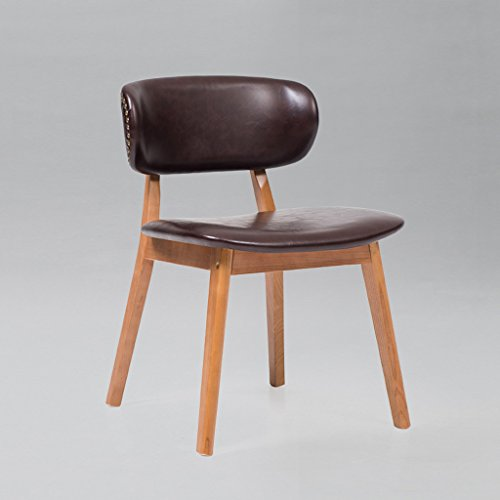 C&S CS Große Größe Nordic Minimalist Leder Rückenlehne Hocker Massivholz Stuhl Coffee Shop Bürostuhl Komfortabel (Color : Dark brown) (Dark Hocker Brown-leder-bar)