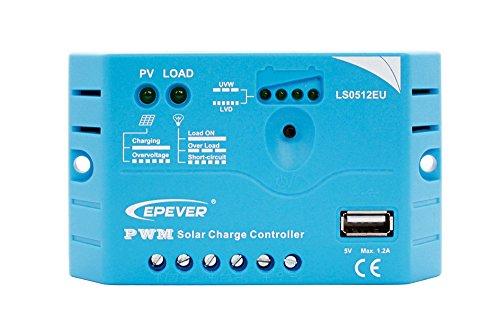 epever® PWM Regulador de Carga ls0512eu (5A, 12V) con USB Conector Detección...