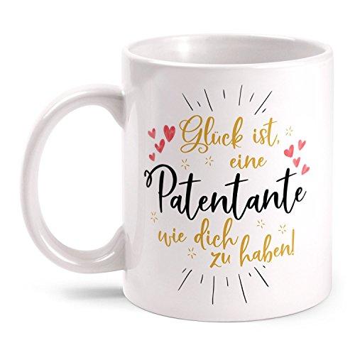 Fashionalarm Tasse Glück ist eine Patentante wie dich zu haben - beidseitig bedruckt | Geburtstag Geschenk Idee Patin Taufe | Du bist die Beste, Farbe:weiß