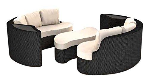 ARTELIA Yamelia Polyrattan Rattaninsel, Loungemöbel für Garten und Terrasse, Lounge schwarz