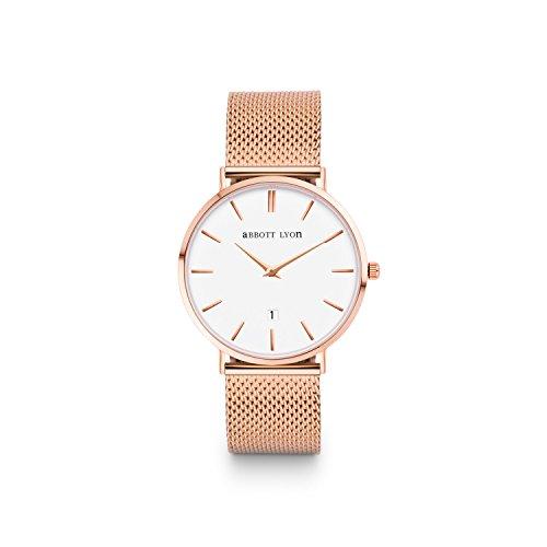 Abbott Lyon Kensington 34 mit roségoldenem Milanaise-Armband (Abbott Uhr)