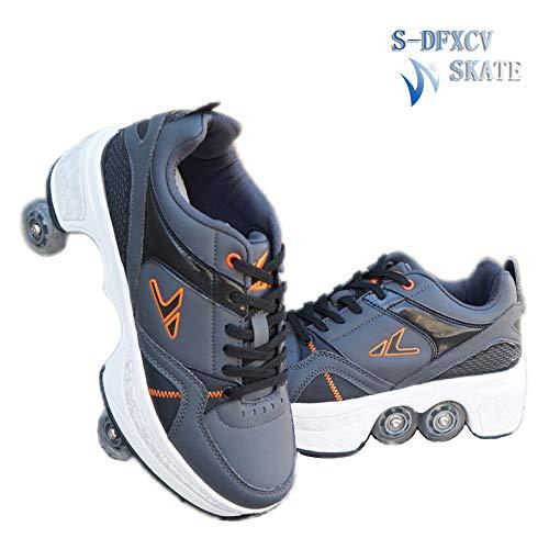 SDFXCV Inline-Skates 2-in-1-Mehrzweckschuhe Rollschuhe Multifunktionale Verformungsschuhe Quad-Skate-Outdoor-Skating-Wanderschuhe, Geeignet Für Erwachsene Und Kinder,Grey-39