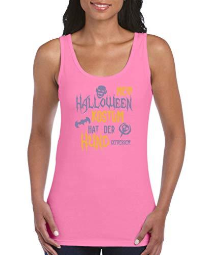 Comedy Shirts - Mein Halloween Kostuem hat der Hund gefressen - Damen Tank Top - Pink/Violett-Gelb Gr. XXL