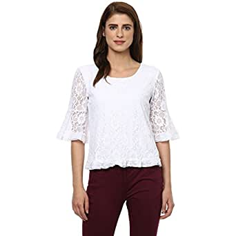 Honey by Pantaloons Women's Plain Regular Fit T-Shirt (110027442004_White_XL)