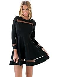 LookbookStore Damen Langärmliges A-Linien Kleid mit Netzmaschen