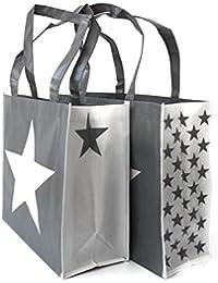 0b14edda1 Shopper Gris con Estrellas Blancas Cuerda, Cordel, como Mango de rocío,  Cremallera en
