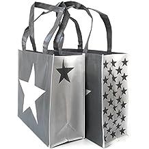 Shopper Gris con Estrellas Blancas Cuerda, Cordel, como Mango de rocío, Cremallera en