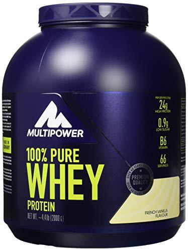 Pure Protein Vanille Vitamine (Multipower 100% Pure Whey Protein - wasserlösliches Proteinpulver mit Vanille Geschmack - Eiweißpulver mit Whey Isolate als Hauptquelle - Vitamin B6 und hohem BCAA-Anteil - 2 kg)