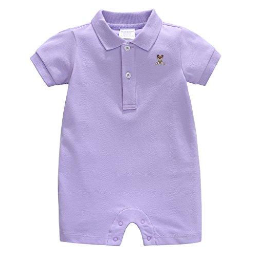 Vine Baby Spieler Polo Kurzarm-Body Sommer Spielanzug Strampelanzug mit Kurzen Beinen Baumwolle Strampler 12-18 Monate