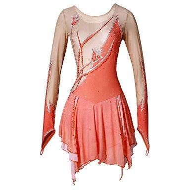 Heart&M Handgemacht Eiskunstlauf Kleid für Mädchen Frauen Rollschuhkleid Wettbewerb Kostüm Langärmliges Eislauf Kleid Orange, XL