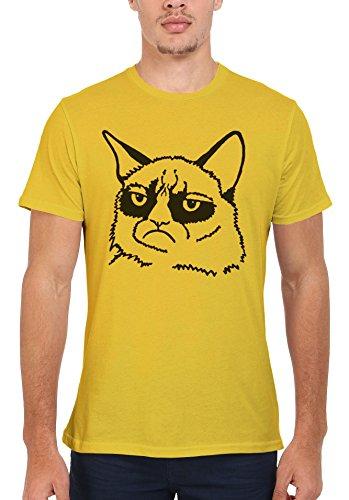 Grumpy Cat Cartoon Meow Geek Hippie Men Women Damen Herren Unisex Top T Shirt Licht Gelb