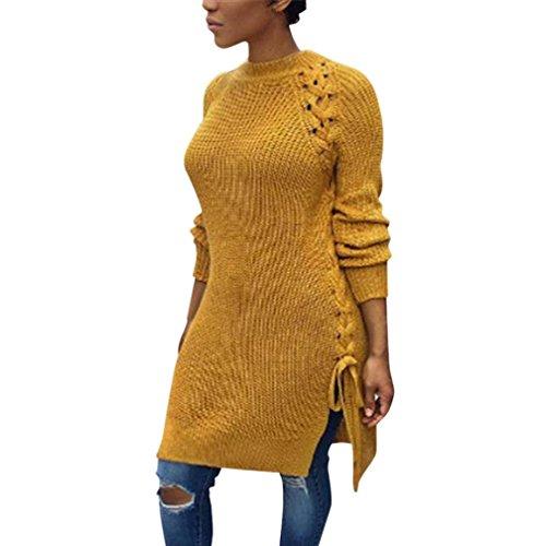 Kanpola Damen Pullover Lange Strick Pullover Bluse Lose Elegant Casual (M, (Asiatische Kostüm Koch)