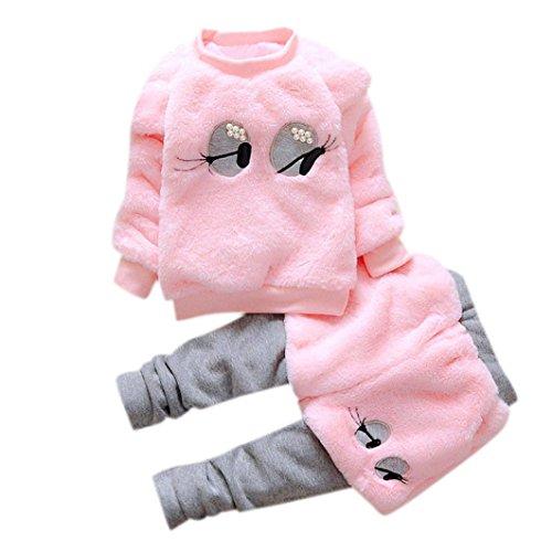 Zolimx Bambine Vestiti del fumetto Flanella Inverno Caldo Spesso strato + Pantaloni outfits Set (80, Rosa)