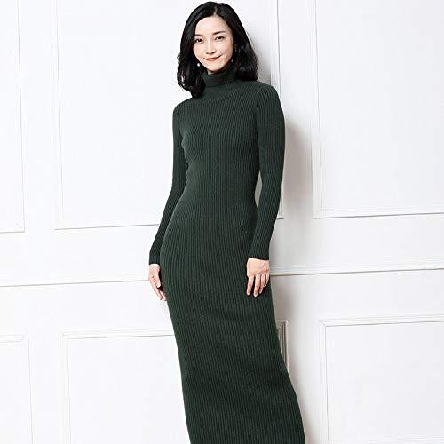 Weicher Pullover Kleid (Cxlyq Kleider Winter Langes Kleid Weicher Femininer Rollkragenpullover Weiblicher Rollkragenpullover Gestrickte Pullover Kleid Warm)