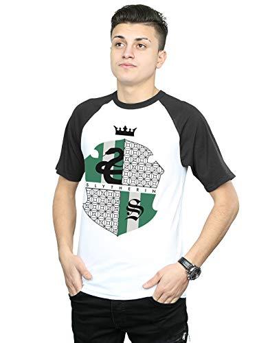 Harry Potter Herren Slytherin Shield Baseball-T-Shirt Weiß Schwarz Large