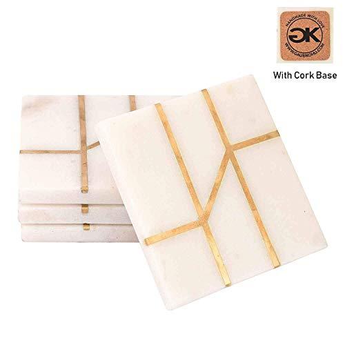 GAURI KOHLI Schöne Untersetzer aus Weißem Marmor mit Korkfuß; Mit Goldinlay Verziert (Großes Format | 4-er Set) -