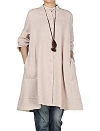 841b414f7 Vogstyle Women s Autumn Cotton Linen Full Front Buttons Shirt Dress with  Pockets
