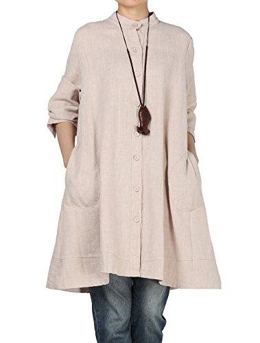 Vogstyle Damen Herbst Baumwolle Leinen Voller vorderer Knopf Blouse Kleid mit Taschen Style 1 Medium Beige (Leinen-baumwoll-kleid)