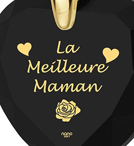 Pendentif Coeur - Bijoux Plaqué Or avec La Meilleure Maman inscrit en Or 24ct sur un Zircon Cubique en Forme de Coeur, Chaine en Or Laminé de 45cm - Bijoux Nano Noir