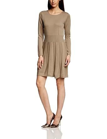 More & More Damen Strick Kleid 41013701, Knielang, Einfarbig, Gr. 42, Braun (nut melange)