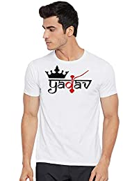 WC RIGHT Mens YADAV Graphic Printed Solid White Round Neck T-Shirt