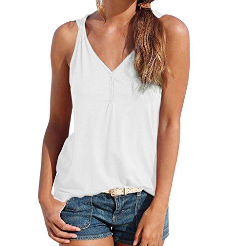 SEWORLD T-Shirt Damen Muttertag Geschenk Frauen Sommer Casual Strand Weste Top Ärmellose Lose Camis Tank Tops T-Shirt Bluse Oberteile (Weiß 1,L)