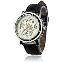 46136b99d3a Sannysis® De cuero de los hombres clásicos Dial Esqueleto Deporte Mecánica  Ejército reloj(blanco