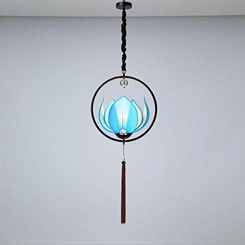 Suspensions 220V (sans ampoule) Lotus Iron cercle abat-jour tissu abat-jour Lampe pour Bar Restaurant éclairage, D50cm, blue
