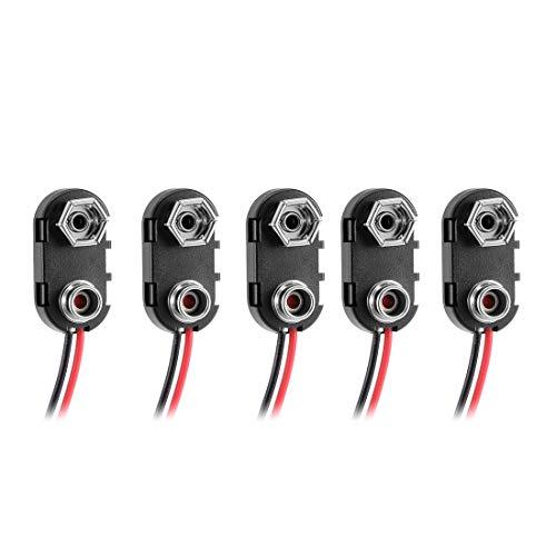 Preisvergleich Produktbild sourcing map Schwarz Rot lang Kabelanchluss 9 V Batterieklemmen Anschluss Schnalle 5 Stücke DE de