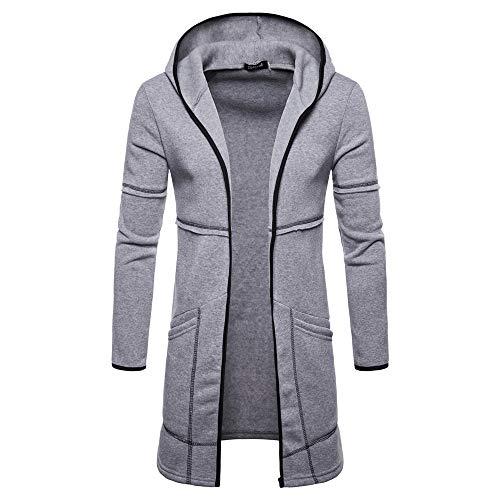 Hoodie Mantel Herren Timogee Männer Mens Slim Fit Kapuze Stricken Pullover Mode Cardigan Lange Trenchcoat Solide Jacke