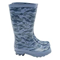 M&Co Boys Blue Camouflage Design Rubber Gripped Sole Wellies