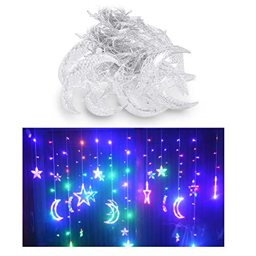 Pandao LED Vorhang Lichter, LED Lichterkette 3,5 m Sterne Mond LED Vorhang Lichter Girlande Hochzeit dekorative Lampe Hausgarten Weihnachten Fenster Vorhang Dekoration