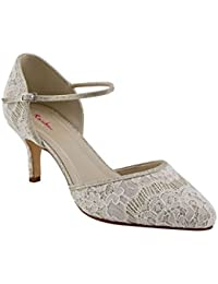 e5c499e337f0 Rainbow Club Priscilla - Silver Shimmer and Luxury Lace Ankle Strap Court  Shoe
