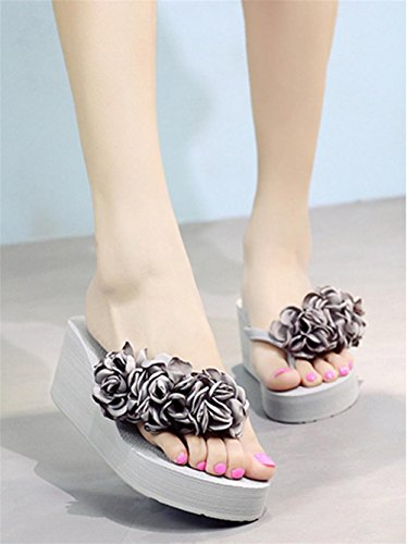 pengweiLadies Sandals Fashion Flower Beach chaussures antid¨¦rapantes clip pieds ¨¤ talons hauts 4