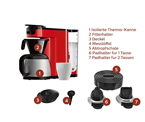 Senseo HD7892/80 Switch 2-in-1 Kaffeemaschine für Filter und Pads, Rot - 2