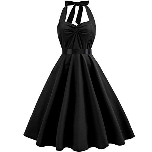 FeiXiang Robe Vintage 1950's Audrey Hepburn pin-up Robe de Soirée Cocktail, Style Halter Années 50 à Pois S~XXL (Noir, S)