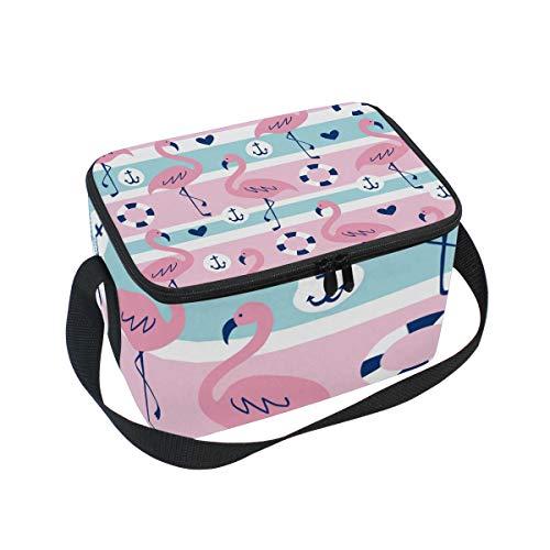 Alinlo Lunch-Tasche, Flamingo-Ankermuster, Reißverschluss, isolierte Kühltasche, Lunchbox, Meal Prep, Handtasche für Picknick, Schule, Damen, Herren, Kinder -
