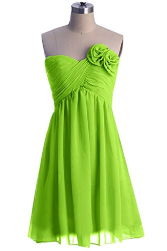 Fanciest Damen Flowers Chiffon Kurz Brautjungferkleider Formelle Party Kleider Yellow Lime Green