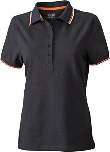 JN965 Ladies´ Coldblack® Polo Black-White-Orange