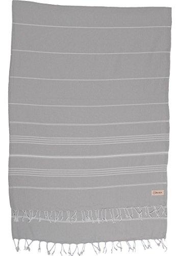 Bersuse 100% Baumwolle - Anatolia XL Decke Türkisches Handtuch - Mehrzweck Bett- oder Sofa-Überwurf, Tischdecke oder als Picknickdecke - Badestrand Fouta Peshtemal - Klassisches gestreiftes Pestemal - 155 X 210 cm, Silber-Grau